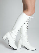 White Matt Boots - Womens Retro GoGo Knee High Lace up Eyelet Boots - Size 9 UK