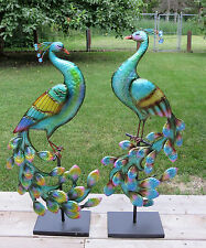 2 Standing Metal Peacocks on Stands 32 inches tall Garden Decor Yard Ornament