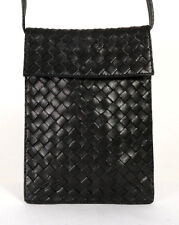 BOTTEGA VENETA Black Intrecciato Woven Leather Crossbody Shoulder Bag