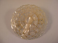 Vintage Carved Round MOP Mother of Pearl Pin Brooch