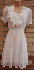 WHITE CROCHET LACE WHITE CHIFFON FLIPPY FLARE SKATER CURVY FIT GYPSY DRESS S M