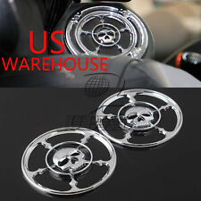 Motorcycle Skull Speaker Trim Grill Cover For Harley Touring FLHT FLHTC FLHX US