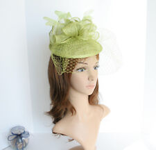 2015 NEW Church Derby Wedding Sinamay w Feather Fascinator Cocktail Lime  408