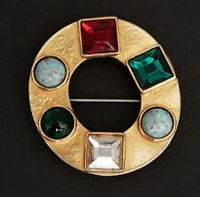 Vtg 1960 YSL Yves Saint Laurent Roger Scemama brooch circle cabochons couture