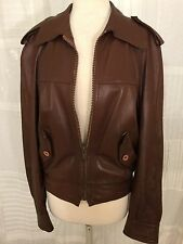 MN Finnish Leather Men's Super Soft Brown Leather Bomber Jacket - Size 50 (Euro)