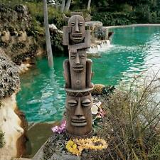 TIKI HEAD TOTEM SCULPTURE Polynesian OUTDOOR Pool Tropical Garden Island Statue