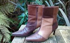 Kaliko Ladies Brown Patchwork Short Leather Boots  Size 36  Stiletto Heel