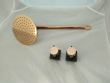 "NEW WATERMARK WELS Brass 200 8"" DIA mm Rose gold SHOWER HEAD wall ARM  with taps"