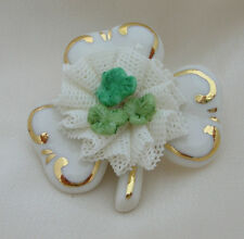 Irish Dresden White with Green Shamrock Porceline Brooch 24K Gold Paint Accents
