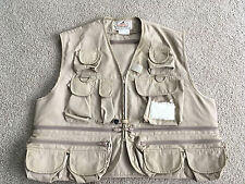 "WOODFIELD Khaki MULTI Pocket ""Shorty"" Fly Fishing Vest TROUT FISH lure patch L"