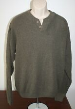 Woolrich Mens Sweater Olive Pullover Large Outdoor Wear Made in USA Used