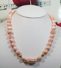 Genuine Natural Pink Coral Necklace with 14K Gold Beads. LNCR001