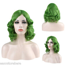 Fashion Texture Medium Curly Green Wigs Shaggy Perm Hairstyle Cosplay for Joker