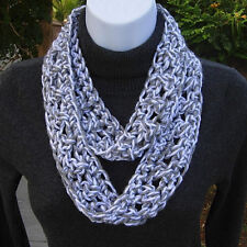 SUMMER SCARF Infinity Loop Light Gray Grey, White Small Skinny, Crochet Necklace