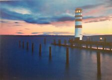 LED LIT CANVAS PICTURE - LIGHTHOUSE AT DUSK - BATTERY OPERATED