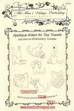 Applique Kittens Hot Iron Embroidery Transfers by MaMaw's Vintage Embroidery