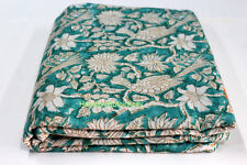 5 Yards soft Cotton Indian Fabric Green FloHand Block printed fabric Peacock de