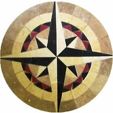 Floor Marble Round Medallion Nautical Compass Rose Tile Mosaic 30 in