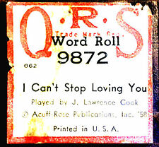 QRS Word Roll Ray Charles I CAN'T STOP LOVING YOU Cook 9872 Player Piano Roll