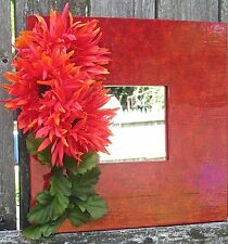 Triple Frills - Shasta Daisy -  Square Wood Flower Mirror by MJG's Creations