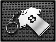 FOOTBALL TEAM SHIRT KEYRING NUMBER 8 - STAINLESS STEEL - HAND MADE - CHAIN FOB