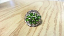 Beautiful Green CZs  Accent Flower Ring 925 Sterling Silver *Size 6*F475