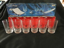 CRISTAL D'ARQUES 6 DIAMOND LEAD CRYSTAL HI-BALL GOBLETS