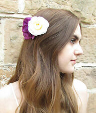 Purple & Ivory White Rose Camellia Flower Hair Comb Vintage Bridesmaid Clip W76