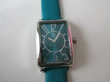 NEW--Isaac Mizrahi Live! Leather Strap Art Deco Watch