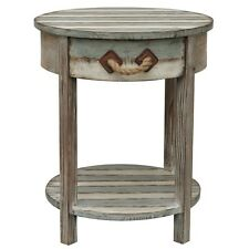 Nantucket Round Weathered Wood Accent Side End Table Distressed Rustic Coastal