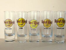 "5 Hard Rock Cafe Shooters Shot glasses 4"" Barcelona Athens Rome N.Y. Acapulco"