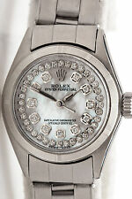 Estate $6000 White MOP Diamond Dial Genuine ROLEX Ladies Oyster SS Watch & BOX