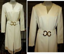 ~Vintage Country White Dress w/ Fringe Hem & Double C's Belt Sz M (6/8) western