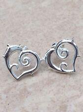 Sterling Silver 925 Open Heart Statement Size Tattoo Spike Stud Earrings
