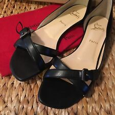 New Christian Louboutin Atalanta Size 41 10 Womens Black Leather Sandals Flats