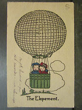 cpa fantaisie illustrateur enfants ballon mongolfiere the elopement