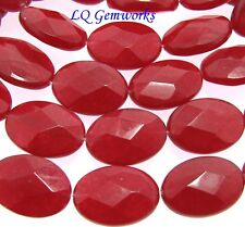 "15.5"" Strand RUBY RED JADE 10x14mm Faceted Oval Beads BOGO"