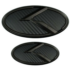 2 BLACK CARBON FIBER KIA K EMBLEMS BADGES FOR TRUNK OR HOOD PAIR