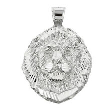 Diamond Cut 10k White Gold Lion Head Frontal View Pendant (Made in USA)