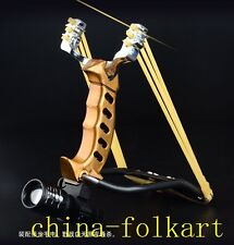 SLINGSHOT CATAPULT DEVICE OUTDOOR SPORTING GOLD ASSASSIN STAINLESS STEEL PROFESS