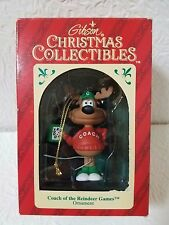 """GIBSON 1992 CHRISTMAS COLLECTIBLES """"COACH OF THE REINDEER GAMES""""  ORNAMENT NIB"""