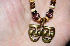"Drama Comedy Tragedy Masks Necklace Actors Theater BRONZE Faces 16""-28"" Cord NEW"