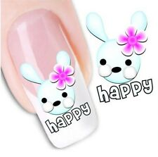 Nail Art Water Decals Stickers Transfers Easter Bunny Rabbits Carrots (DX1260)