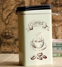 Retro Large Beige Coffee Cup Kitchen Coffee Tea Sealed Container Jar Tin Metal