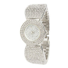 Alias Kim Silver Round Full Crystal Women's Steel Bracelet Bangle Quartz Watch