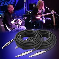 "New 2x 1/4"" to 1/4"" 25 Ft. 12 Gauge Wire AWG DJ/ Pro Audio Microphone Cable"