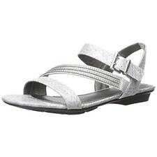 LifeStride 8281 Womens Enchant Gray Flat Sandals Shoes 9 Medium (B,M) BHFO