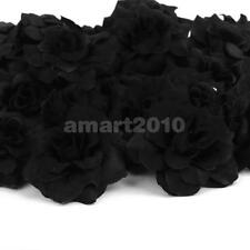 50x Black Wedding Fake Rose Artificial Silk Plastic Flower Head Party Décor