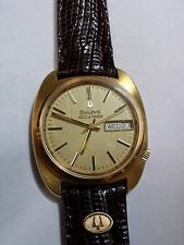 BULOVA ACCUTRON DAY & DATE VINTAGE WATCH SOLID 18K GOLD WITH GOLD BULOVA LOGO
