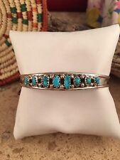 Sterling Silver & Turquoise Navajo Cuff Bracelet Signed